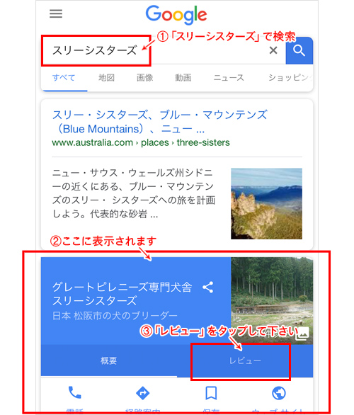 Google検索画面(スマホ)