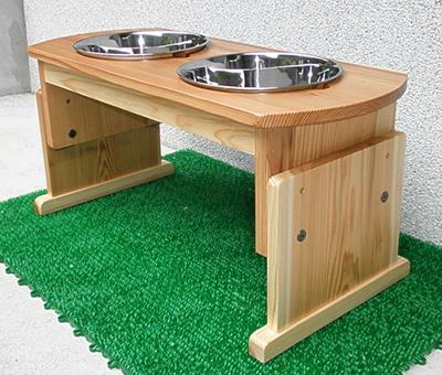 大型犬・中型犬用木製食器台(高さ調整式/素材:スギ)