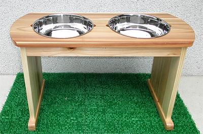大型犬・中型犬用木製食器台(固定式/素材:スギ)