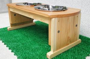 大型犬・中型犬用木製食器台(高さ調整式)